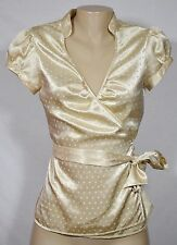 EXPRESS DESIGN STUDIO Pale Gold Starburst Pattern Wrap Top Small Puffed Cap Slvs