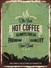 Letrero de Metal Shabby Chic Estilo Retro Cocina Pared Estaño mejor café caliente Placa de Puerta