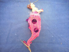 KATHERINE'S COLLECTION MERMAID ORNAMENT PINK CANDY CADDY 9 1/2""