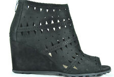 Via Spiga Latanya Women's Suede Leather Wedge Ankle Bootie,Black,New,11M,0284