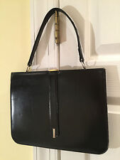 Vintage 1960's DOFAN Black Leather HANDBAG PURSE Made in France