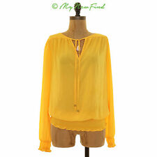 NWOT MICHAEL KORS SMOCKED PEASANT TOP LONG SLEEVE FRONT TIE YELLOW SZ XS B17