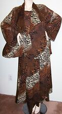 ANIMAL PRINT 4-Pc OUTFIT Sz 1X Blouse Jacket Pants Pedal-Overskirt Poly-Crepe