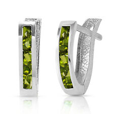 1 Carat 14K Solid White Gold Oval Huggie Earrings Peridot