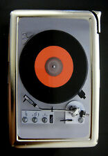 Record Player 01 Cigarette Case Built in Lighter Card Holder Vintage Retro Music