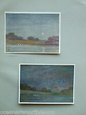 ANTIQUE PRINT C1906 MOONLIGHT & NIGHT  FROM OIL PAINTING BY ALFRED EAST VINTAGE