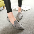 Womens Rivet Slip On Pierced Flats Suede Oxfords Loafers Flat Shoes Pointed Toe