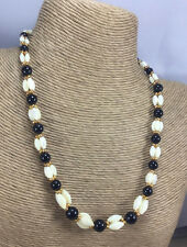 Vintage Style Necklace Mother of Pearl Rice Bead & Black Onyx Woven Choker Gold