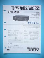 Service Manual instructions for Sony TC-WR701es/TC-WR735S ,ORIGINAL