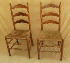 Antique Country Slat Back Woven Rush Seat Chairs Matching Pair c. 1890-1910
