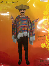 Adult Men Mexican Poncho Costume Wild West Cowboy Bandit Blanket Party Dress Up