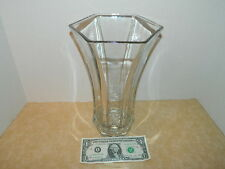 """Vintage hoosier glass hexagon 10"""" heavy thick clear glass vase 4041 flair flute"""