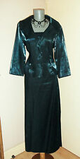 Turquoise TEAL Black metallic SKIRT JACKET & TOP wedding Party SUIT 14 16 UK