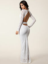 Off White Cutout Back Lace Maxi Dress Wedding Size 14 New Occasions Gown