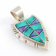 Navajo Sterling Silver Turquoise Opal Inlay Arrowhead Pendant L. WILLIE | RS R