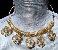 ~WOW! Rare Vintage VALENTINO Italy Lucite Wire Wrap Gold Tone Choker NECKLACE