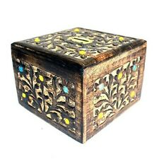 Large Sheesham Wood Money Box Coin Bank Tip Box Brass Bead Detail - 11cm x 15cm