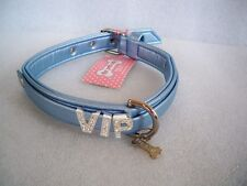"COLLARE CANE PLAY WITH ME LIGHT BLUE ECOLEATHER ""FOR PETS ONLY"" VIP MISURA 45"
