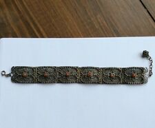 Vintage Chinese Export Silver Filigree Coral Panel Link Bracelet Antique