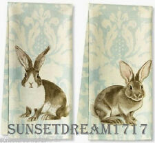 Williams Sonoma Easter Bunny Painterly Damask Kitchen Towels, Set of 2 FREE SHIP