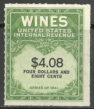 us revenue wine stamp scott re201 - $4.08 issue - mng as issued