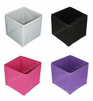 SQUARE COLLAPSIBLE CANVAS STORAGE BOX FABRIC CUBES FOLDABLE KIDS BEDROOM OFFICE