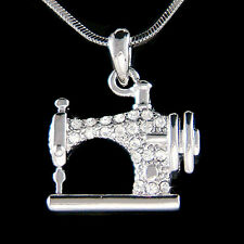 w Swarovski Crystal Frister Rossmann Vintage look Sewing machine Charm Necklace