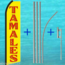 TAMALES Yellow SWOOPER FLAG + 15' POLE + MOUNT KIT Flutter Feather Banner Sign