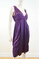 MIU MIU Purple 100% Silk Plunge V Neckline Pleated Evening Dress IT42; UK10