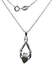 "Irish Claddagh Sterling Silver Pendant Connemara Marble 18"" Neck Chain LMELCL"