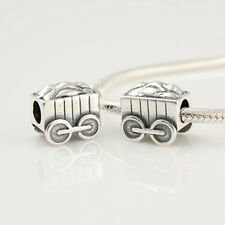 TRAIN BOX CAR .925 Sterling Silver European Charm Bead