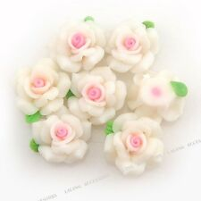 20pcs  Wholesale Fashion White Flower FIMO Polymer Clay Bead Jewelry Findings JJ