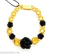 PRADA MILANO YELLOW CRYSTALS BRACELET WITH BLACK RESIN ROSES BNWT BOX 100% AUTH