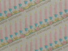VINTAGE HAPPY BIRTHDAY OLD STORE WRAPPING PAPER 2 YARDS GIFT WRAP GORGEOUS