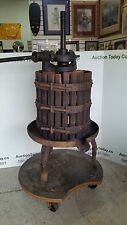 Antique Wine Press with Wood Wine Barrel - COMPLETE, IN EXCELLENT CONDITION!