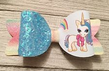 Rainbow Unicorn  Glitter Hairbow Clip Bobble Baby Band