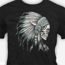Men's Biker Skull Turquoise Indian Head Dress Dia De Los Muertos T-Shirts S-3XL