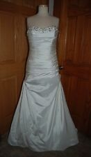 IVORY SATIN RUCHED BRIDAL GOWN SIZE 12