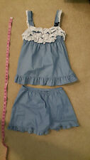cute two piece korean pajama set blue with laces size 90 small medium