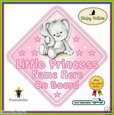"LITTLE PRINCESS PERSONALISED CAR SIGN ""CUTE LITTLE RABBIT"" CHILD BABY ON BOARD"