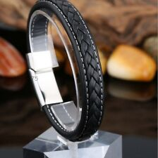 New Black Genuine Leather 12mm Silver Tone Stainless Steel Fashion Mens Bracelet