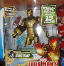 SONIC BLASTING IRON MAN WITH GLOW IN THE DARK ARMOR, 15 MISSILES,  NEVER OPENED