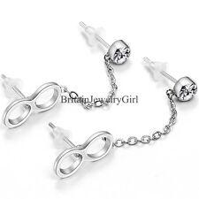One Pair Women's Unisex Infinity Cz Piercings Ear Double Chained Stud Earrings