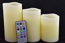 "3 Pcs Flameless Real Wax LED Pillar Candle Multi-Color Remote Control 3"" 4.5"" 6"""