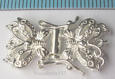 1x STERLING SILVER BRIGHT BUTTERFLY 3-STRAND BOX CLASP 13mm (#104)