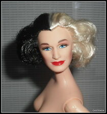 NUDE BARBIE DOLL CELEBRITY GLENN CLOSE CRUELLA DE VIL BLACK/WHITE BLUE EYES DOLL