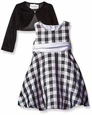 RARE EDITIONS Toddler Girls 2T Holiday Black Check & Velvet Jacket Dress NWT $74