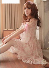 Girls Kawaii Princess Cute Sweet Dolly Gothic Lolita Floral Chiffon Dress