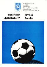 """DDR-Liga 80/81 bsg motor """"Fritz Heckert"""" Karl-Marx-Stadt-fsv Lok Dresden"""