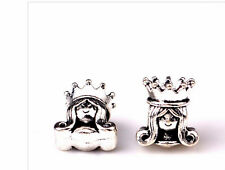 Silver princess charm charms queen crown bracelet european PD snake slide UK